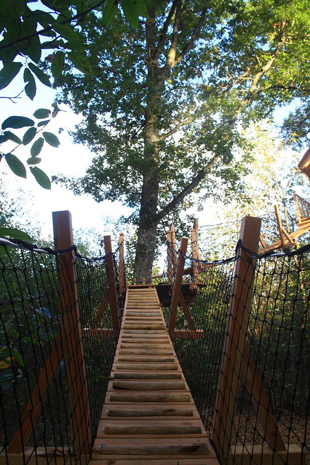 Vue du pont filet de la cabane du Funambule