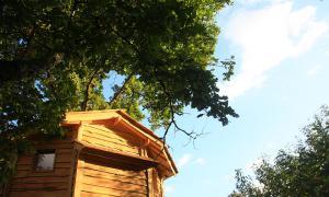 Vue d'une des cabanes d'Ô bois dormant